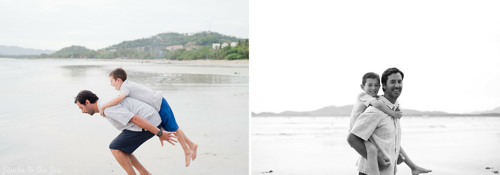 Father and son on the beach in Tamarindo, Costa Rica. Photographed by Kristen M. Brown, Samba to the Sea Photography.