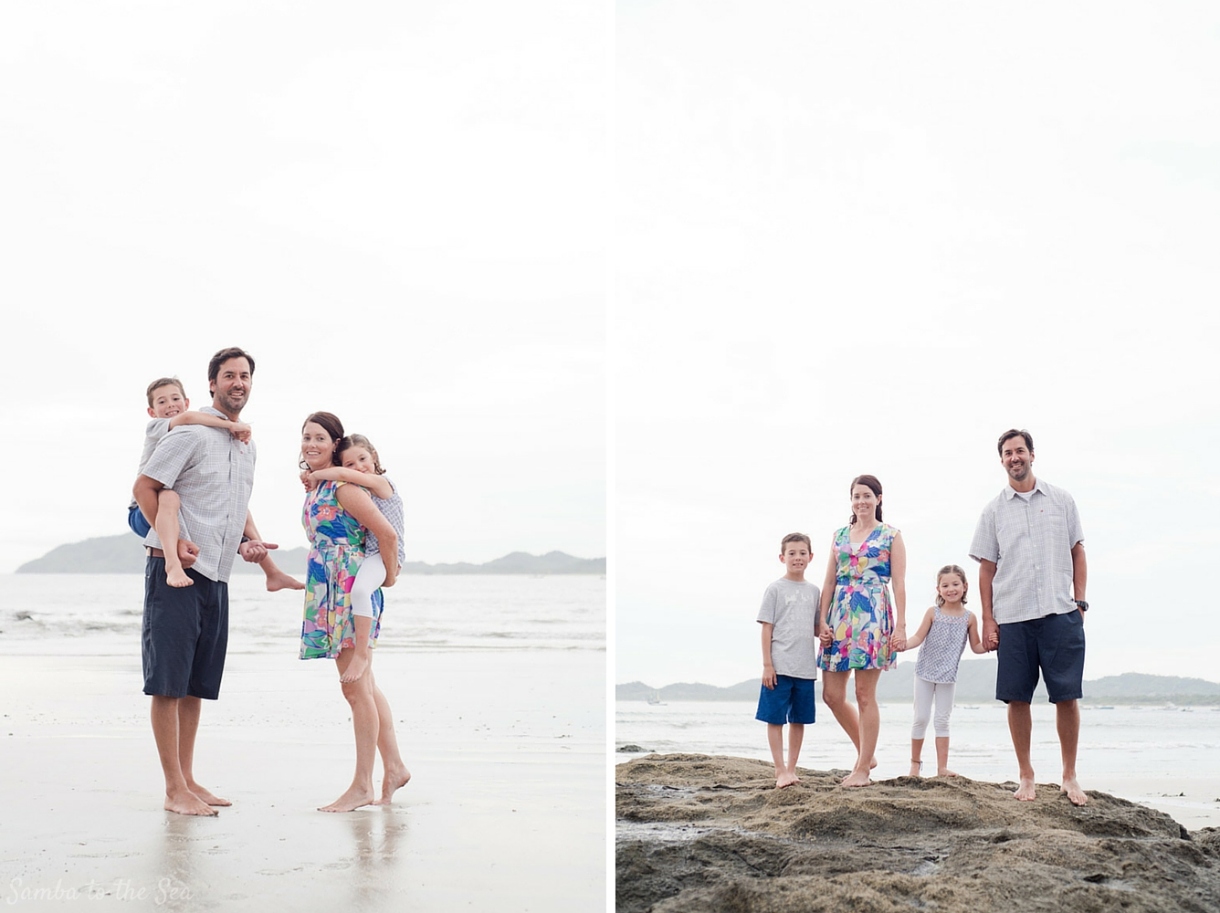 Family portraits on the beach in Tamarindo, Costa Rica. Photographed by Kristen M. Brown, Samba to the Sea Photography.