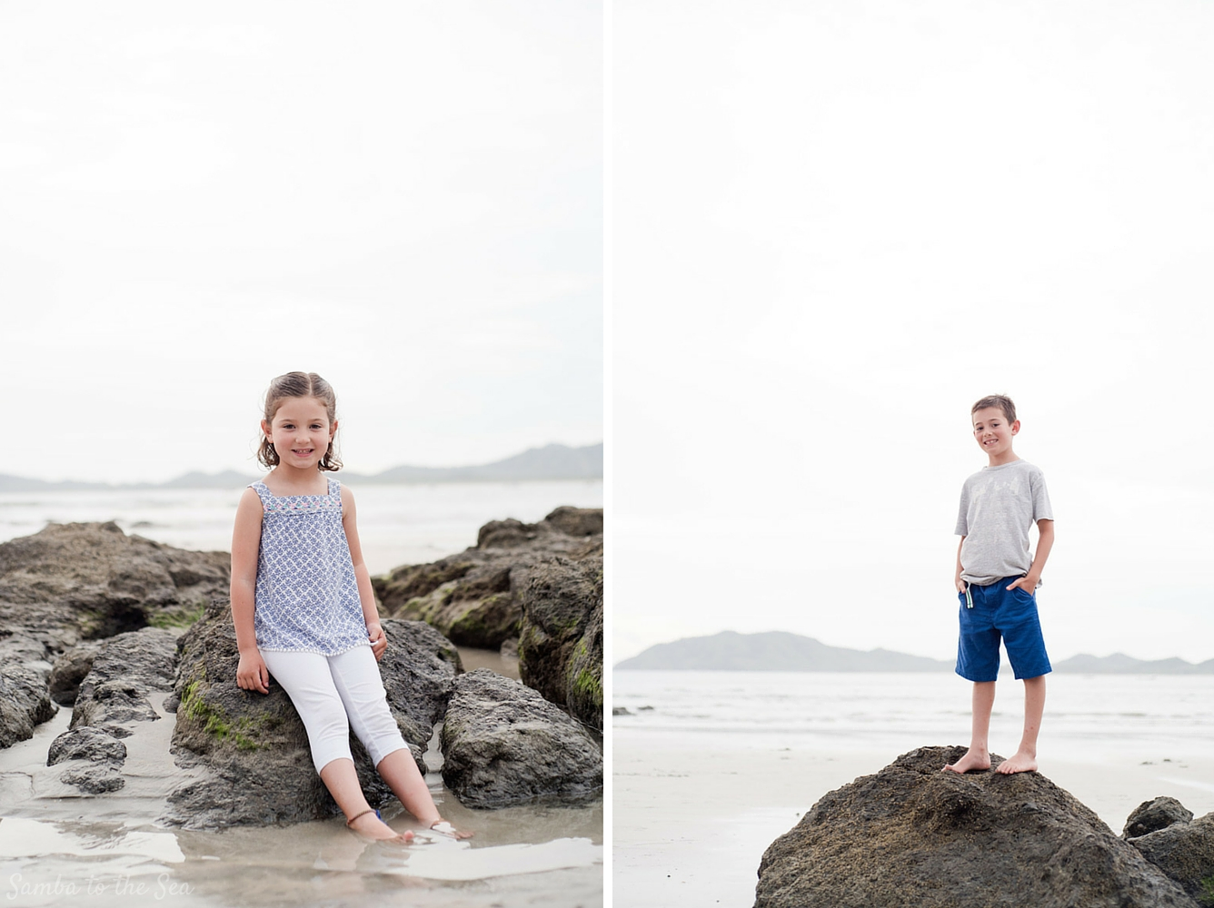 Sibling portraits in Tamarindo, Costa Rica. Photographed by Kristen M. Brown, Samba to the Sea Photography.