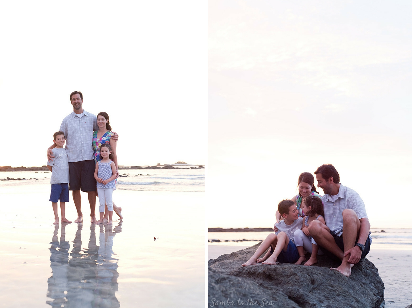 Family portraits during sunset in Tamarindo, Costa Rica. Photographed by Kristen M. Brown, Samba to the Sea Photography.
