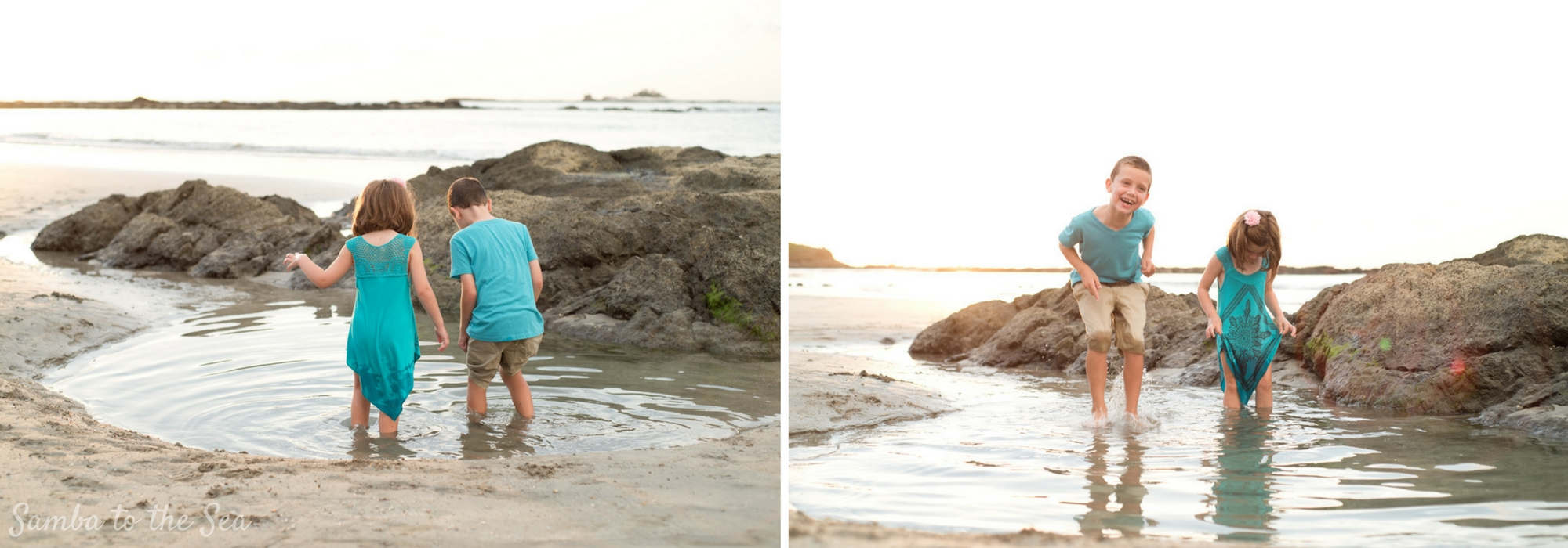 Siblings jumping in a low tide pool during family photos in Tamarindo, Costa Rica.