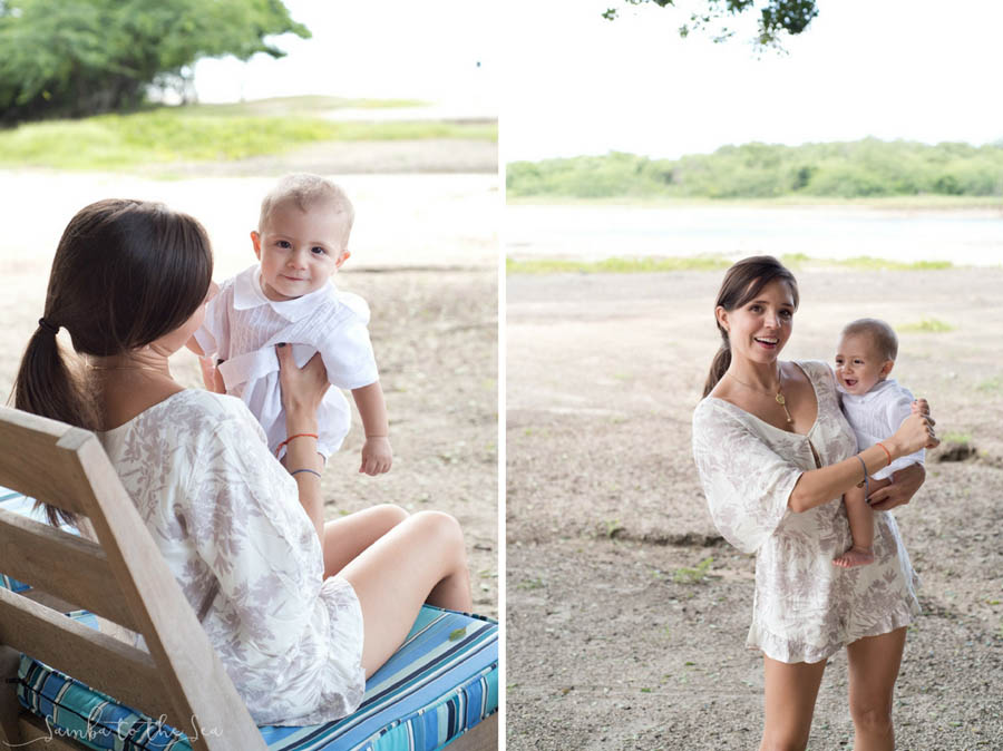 Mother and her baby boy on the beach at Pangas Beach Club in Tamarindo, Costa Rica. Photographed by Kristen M. Brown, Samba to the Sea Photography.