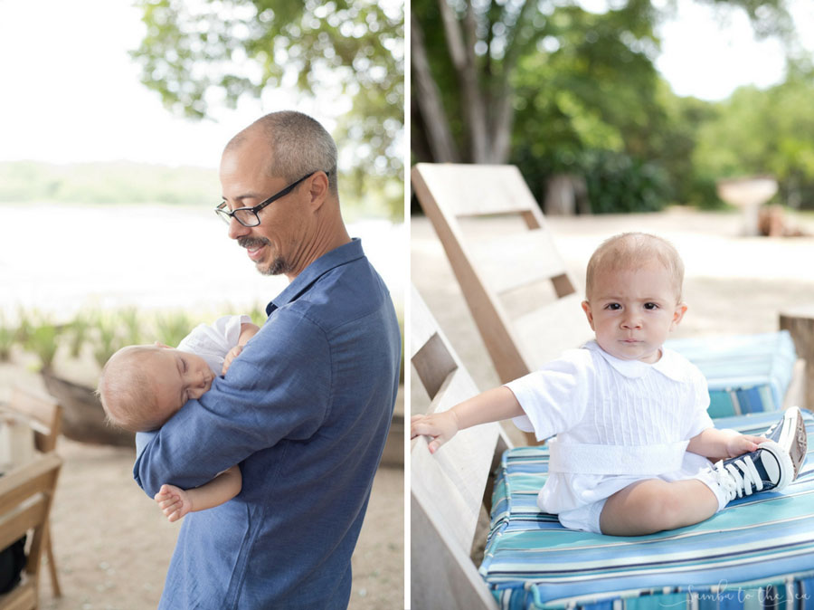 Father and his baby boy at Pangas Beach Club in Tamarindo, Costa Rica. Photographed by Kristen M. Brown, Samba to the Sea Photography.