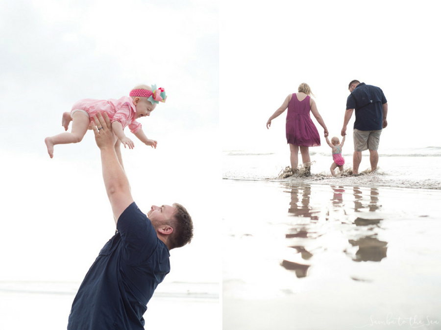 Mom and dad helping their baby girl walk on the beach in Tamarindo, Costa Rica. Photographed by Kristen M. Brown, Samba to the Sea Photography.
