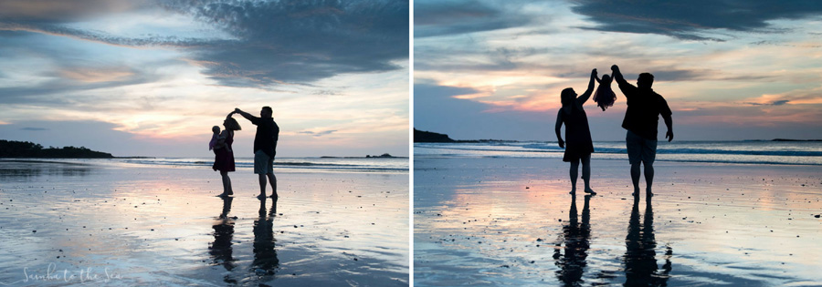 Family silhouette during a beautiful sunset in Costa Rica. Photographed by Kristen M. Brown, Samba to the Sea Photography.