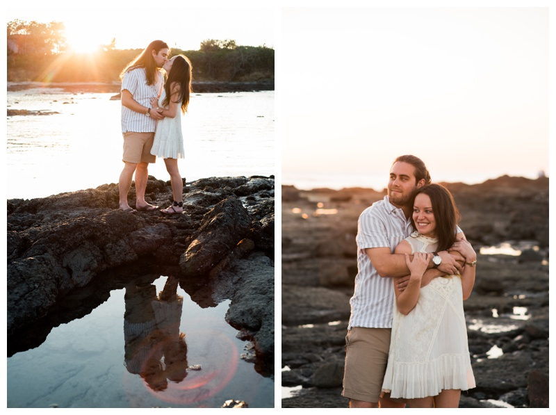Couple enjoying golden hour on the beach in Tamarindo, Costa Rica for their engagement photos. Girlfriend is wearing an boho chic dress from Free People. Photographed by Kristen M. Brown, Samba to the Sea Photography.