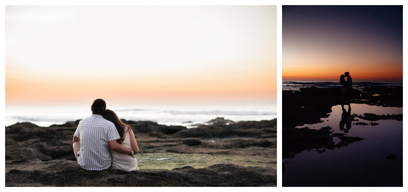 Couple enjoying sunset on the beach in Tamarindo, Costa Rica. Girlfriend is wearing an boho chic dress from Free People. Photographed by Kristen M. Brown, Samba to the Sea Photography.