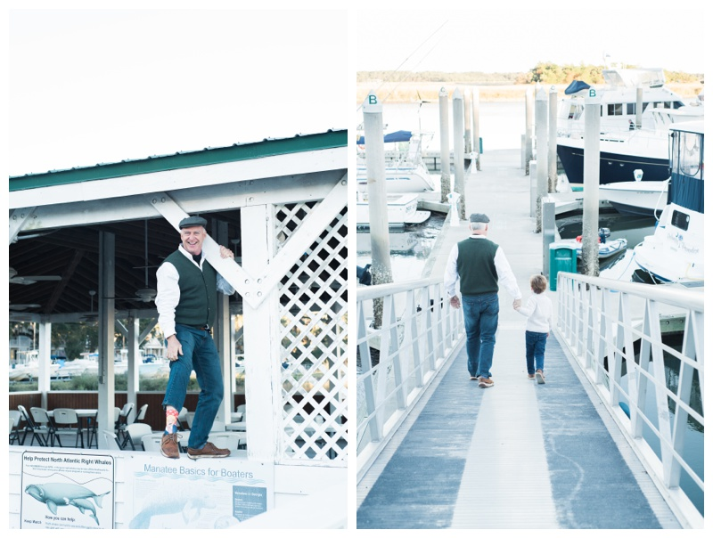 Grandfather and his grandson spending quality time together during family photos at Isle of Hope Marina, GA. Photographed by Kristen M. Brown, Samba to the Sea Photography.
