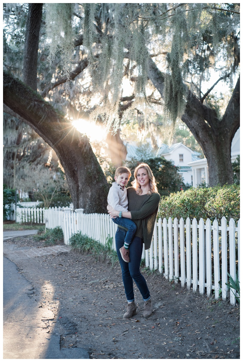 Mom and young son portrait in Isle of Hope, GA. Photographed by Kristen M. Brown, Samba to the Sea Photography.