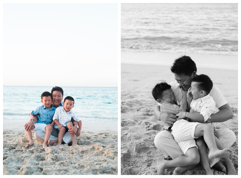 Father wrestling with his two young sons during family photos in Playa Conchal, Costa Rica. Photographed by Kristen M. Brown, Samba to the Sea Photography.