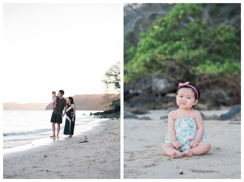 Young family walking on the beach during their family vacation in Costa Rica. Photographed by Kristen M. Brown, Samba to the Sea Photography.