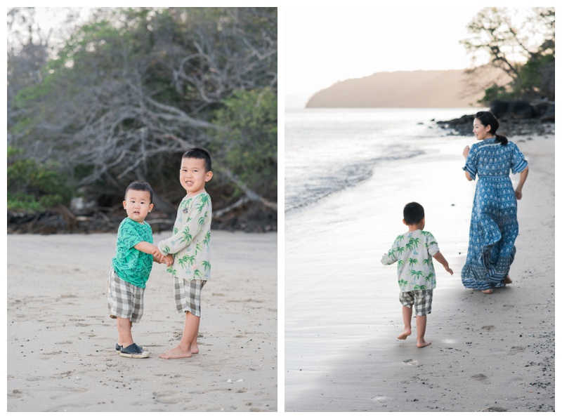Young brothers holding hands on the beach in Costa Rica. Photographed by Kristen M. Brown, Samba to the Sea Photography.