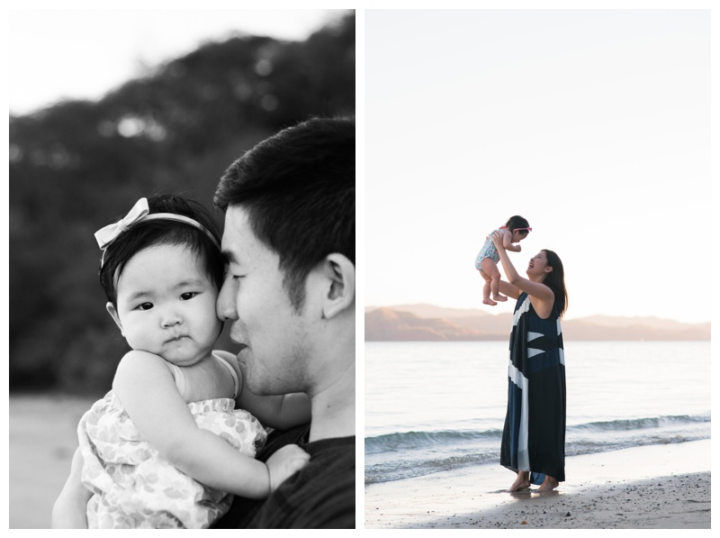 Baby girl with her parents during their family vacation in Costa Rica. Photographed by Kristen M. Brown, Samba to the Sea Photography.