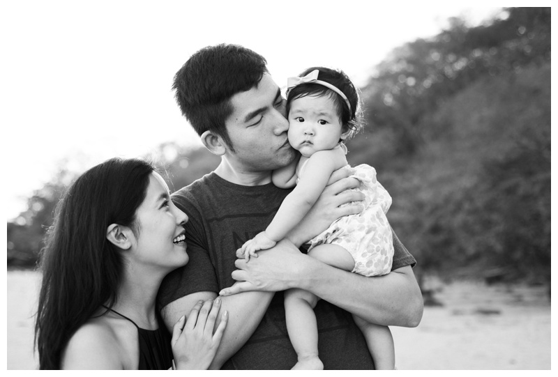 Baby girl and her parents at the Andaz Papagayo. Photographed by Kristen M. Brown, Samba to the Sea Photography.