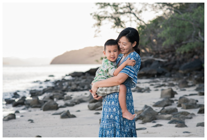 Mom holding her young son during family photos at the Andaz Papagayo. Photographed by Kristen M. Brown, Samba to the Sea Photography.