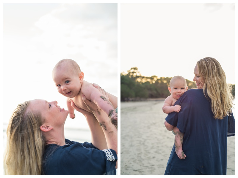 Mom and her baby boy on the beach in Tamarindo, Costa Rica. Photographed by Kristen M. Brown, Samba to the Sea Photography.