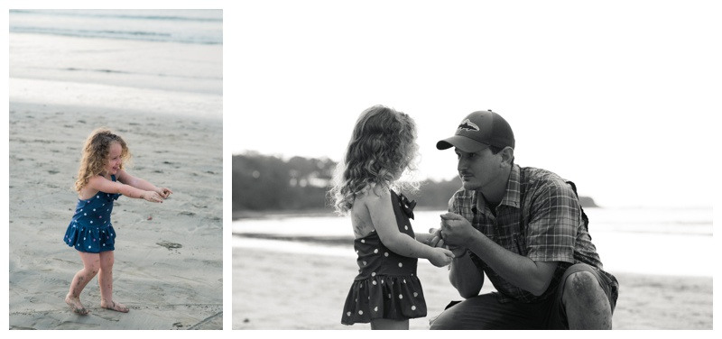 Father and daughter sharing a special moment during family photos on the beach in Tamarindo, Costa Rica.