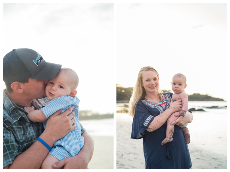 Parents with their baby boy in Tamarindo, Costa Rica. Photographed by Kristen M. Brown, Samba to the Sea Photography.