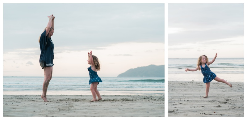 Mom and daughter dancing on the beach in Tamarindo, Costa Rica.