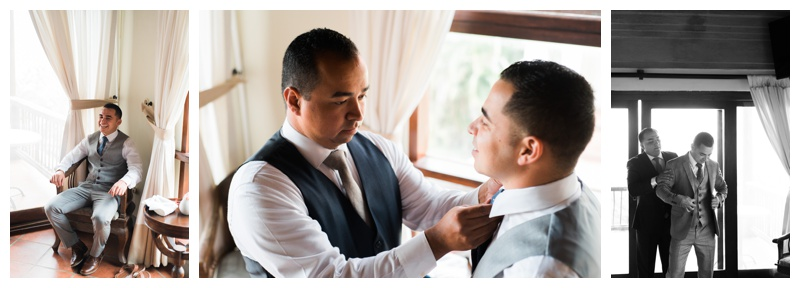 Bestman helping groom adjust his tie before his wedding in Costa Rica. Photographed by Kristen M. Brown, Samba to the Sea Photography.