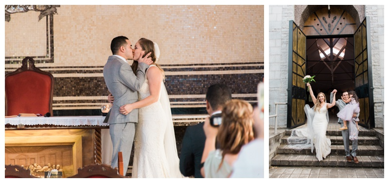 Bride and groom's first kiss at Santa Maria Church in Tamarindo, Costa Rica. Photographed by Kristen M. Brown, Samba to the Sea Photography.