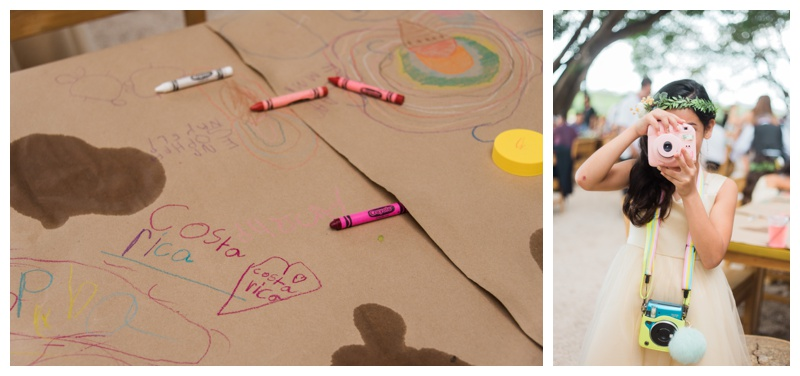 Kid's coloring table at wedding in Tamarindo, Costa Rica. Photographed by Kristen M. Brown, Samba to the Sea Photography.