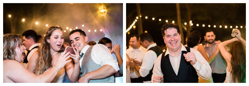 Guests dancing at destination wedding in Tamarindo, Costa Rica. Photographed by Kristen M. Brown, Samba to the Sea Photography.