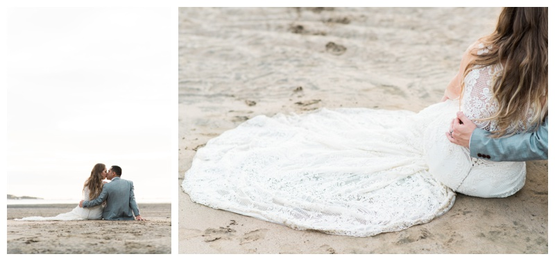 Bride and groom sitting on the beach in Tamarindo, Costa Rica. Photographed by Kristen M. Brown, Samba to the Sea Photography.