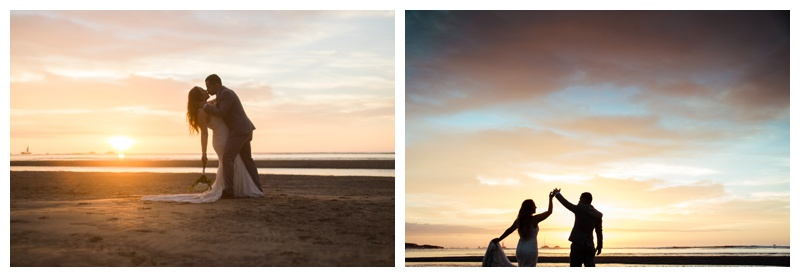 Bride and groom enjoying a gorgeous Costa Rican sunset on the beach. Photographed by Kristen M. Brown, Samba to the Sea Photography.