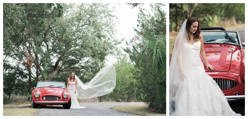Stunning classic convertible car bridal portraits in Savannah, GA. Bride is wearing a gorgeous dress by Maggie Sottero Designs and veil by Adele Amelia Bridal, available at Ivory & Beau Bridal Boutique in Savannah, GA. Photographed by Kristen M. Brown, Samba to the Sea Photography.