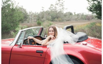 Stunning Classic Convertible Car Bridal Portraits in Savannah || Riding in Style with an Austin Healey + Ivory & Beau