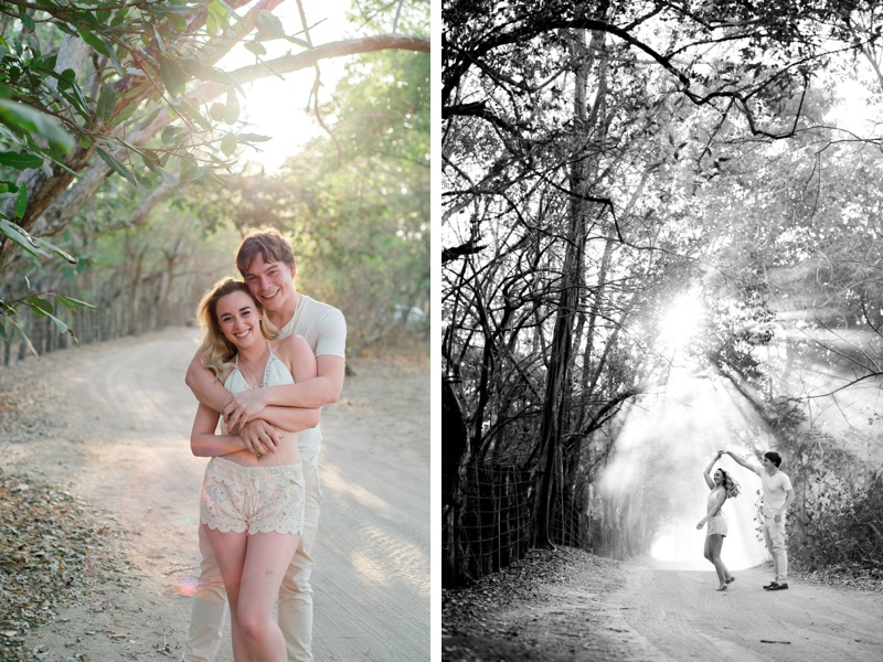 Boyfriend spinning his girlfriend on a beautiful beach path in Playa Conhcal, Costa Rica. Photographed by Kristen M. Brown, Samba to the Sea Photography.
