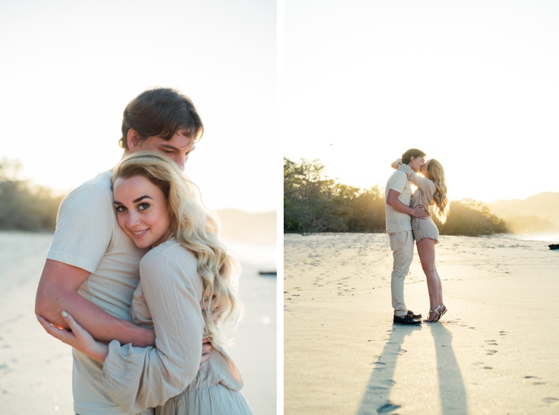 Couple embracing during golden hour on the beach in Playa Conchal, Costa Rica. Photographed by Kristen M. Brown, Samba to the Sea Photography.