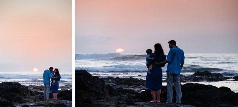 Family watching sunset on the beach in Playa Langosta, Costa Rica. Photographed by Kristen M. Brown, Samba to the Sea Photography.