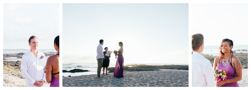 Beach elopement in Costa Rica. Bride is wearing a purple wedding dress. Photographed by Kristen M. Brown, Samba to the Sea Photography.