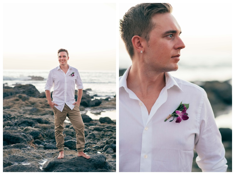Groom and a purple orchid boutonniere. Photographed by Kristen M. Brown, Samba to the Sea Photography.