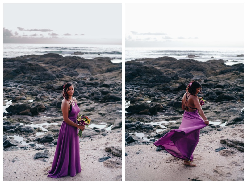 Bride wearing a purple wedding dress for her elopement in Costa Rica. Photographed by Kristen M. Brown, Samba to the Sea Photography.