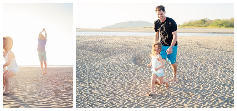 Family playing on the beach in Tamarindo, Costa Rica. Photographed by Kristen M. Brown, Samba to the Sea Photography.
