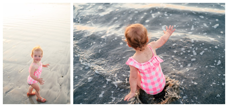 Toddler playing on the beach in Tamarindo, Costa Rica. Photographed by Kristen M. Brown, Samba to the Sea Photography.