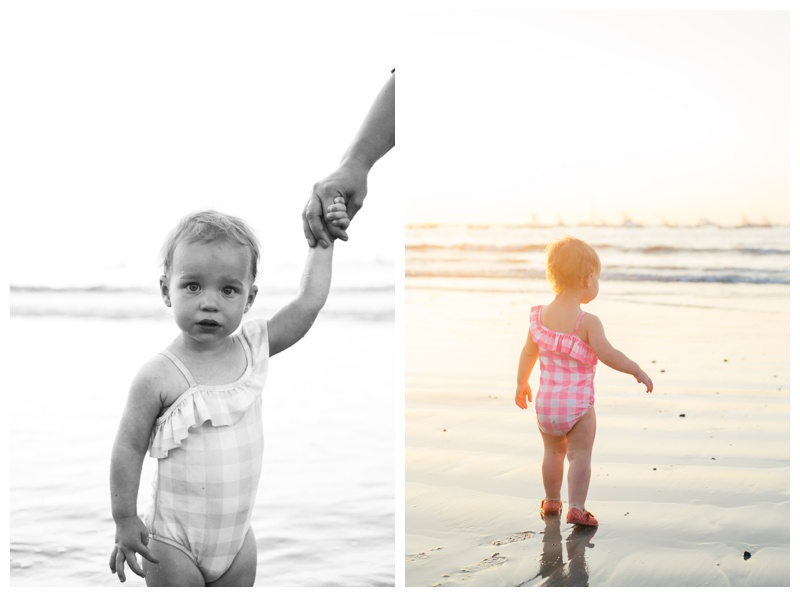 Toddler on the beach in Tamarindo, Costa Rica. Photographed by Kristen M. Brown, Samba to the Sea Photography.
