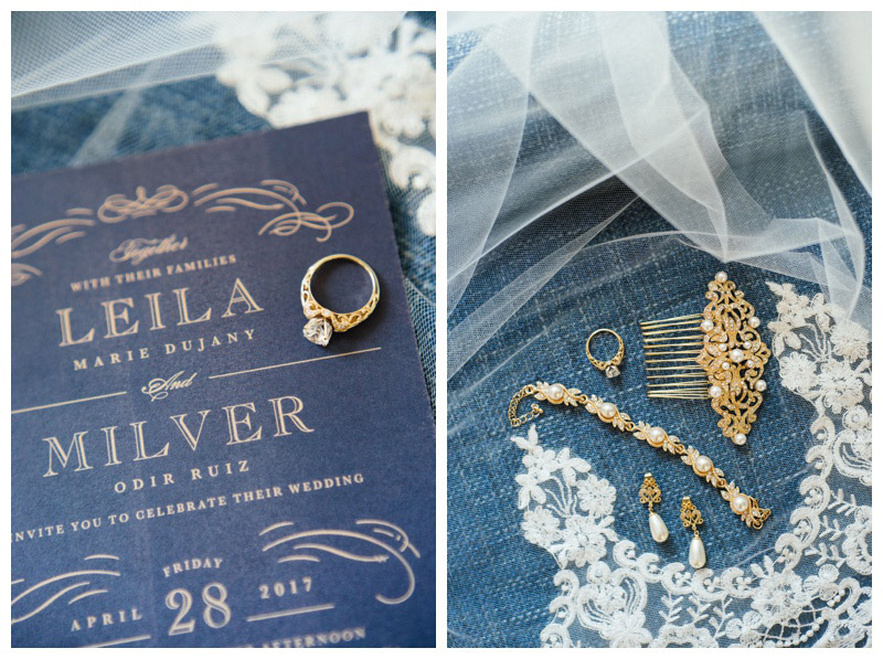 Invitation and wedding jewelry details for spring wedding at St. Francis Hall. Photographed by Kristen M. Brown, Samba to the Sea Photography.