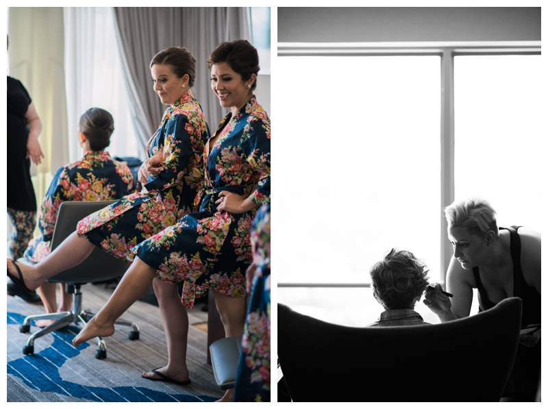 Bride and her bridesmaids getting ready at Le Meridien in Arlington, VA. Photographed by Kristen M. Brown, Samba to the Sea Photography.