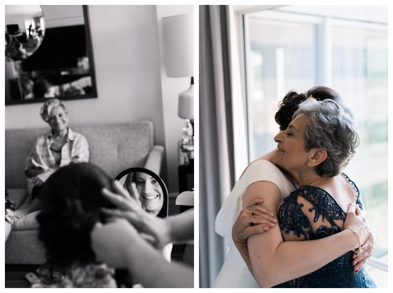 Bride getting ready with her mom at Le Meridien in Arlington, VA. Photographed by Kristen M. Brown, Samba to the Sea Photography.