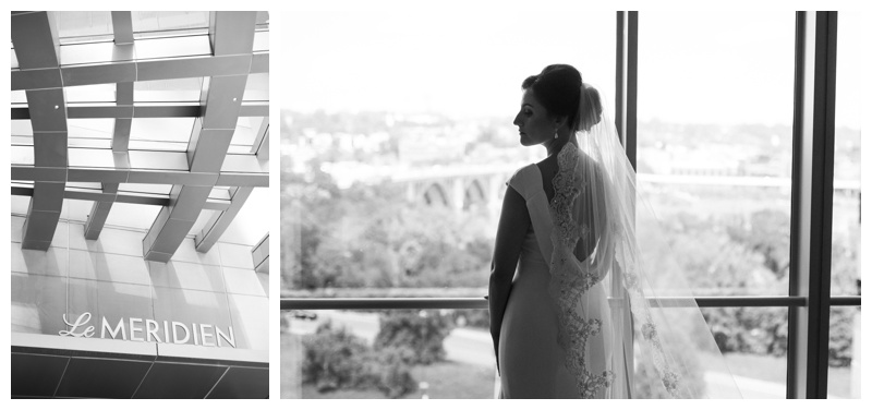 Bridal portrait at Le Meridien in Arlington, VA. Photographed by Kristen M. Brown, Samba to the Sea Photography.