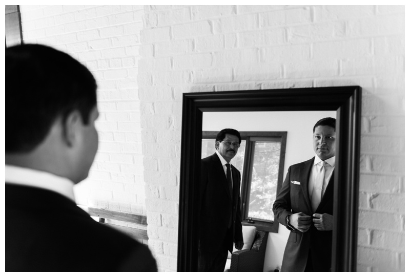 Father of groom watching his son getting ready. Photographed by Kristen M. Brown, Samba to the Sea Photography.