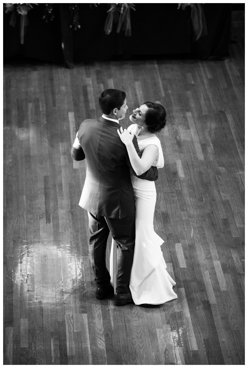 Black and white photo of first dance at St. Francis Hall. Photographed by Kristen M. Brown, Samba to the Sea Photography.