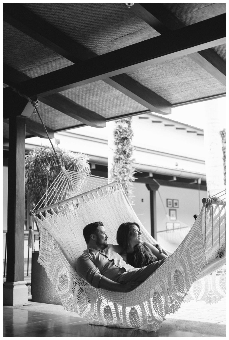 Couple relaxing in a hammock at the JW Marriott in Costa Rica. Photographed by Kristen M. Brown, Samba to the Sea Photography.