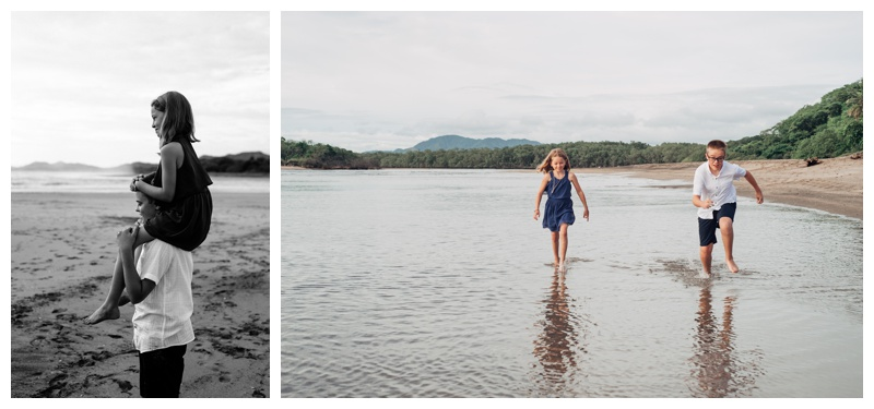 Siblings playing on the beach in Tamarindo Costa Rica. Photographed by Kristen M. Brown, Samba to the Sea Photography.