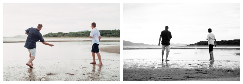 Father and son skipping rocks on the beach in Tamarindo Costa Rica. Photographed by Kristen M. Brown, Samba to the Sea Photography.