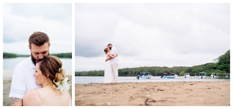 Tropical wedding in Costa Rica. Bride is wearing a Beautiful Adrienna Papell wedding dress. Photographed by Kristen M. Brown, Samba to the Sea Photography.